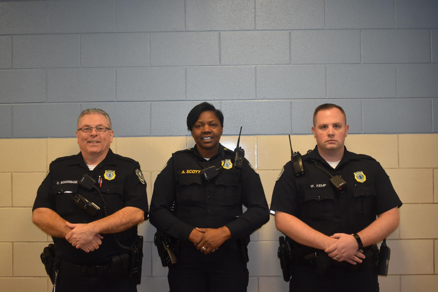 Pictured left to right:  Officers Bowerbank, Scott, and Kemp
