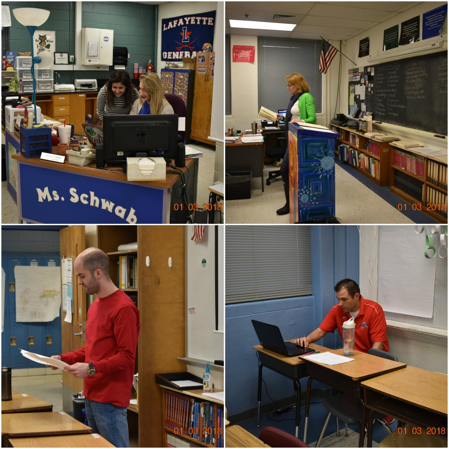 Top Left- Ms. Schwab Top Right- Mrs. Trammell Bottom Left- Mr. Burba Bottom Right- Mr. Wilkinson