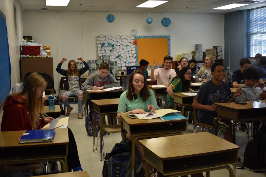 Students pose for the camera in Mrs. Oneil's class