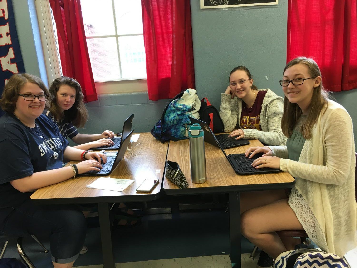 Staff Members of the Lafayette Times:  Rebecca Bishop, Victoria Steward, Laura McPherson, and Nikki Cesiro