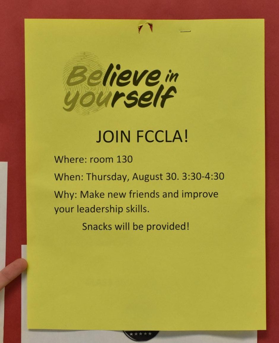 A flyer advertising the FCCLA club's first meeting.
