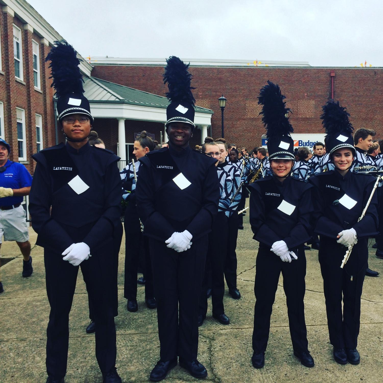 The 2018 Lafayette band drum majors: Casey Trowel, Ni'Ke McDonald, Kate Manno, and Shannon James.