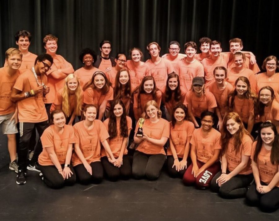 The+Cast+and+Crew+of+%22Taste+of+Sunrise%22+after+winning+1st+at+KTA+Regionals.+Kaylee+Waltermire+%28Center%29+holds+the+award.