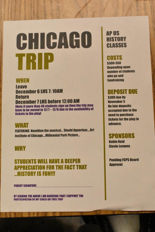 The Chicago trip flier