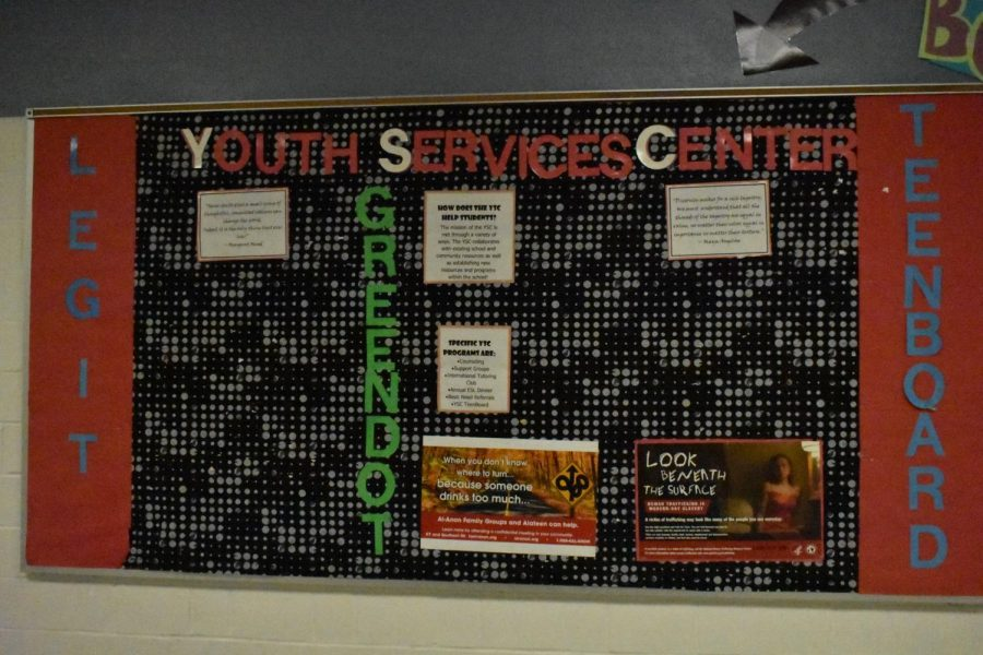 Bulletin+board+outside+of+the+YSC+provides+information+for+Legit%2C+Teen+Board%2C+and+Green+Dot.+