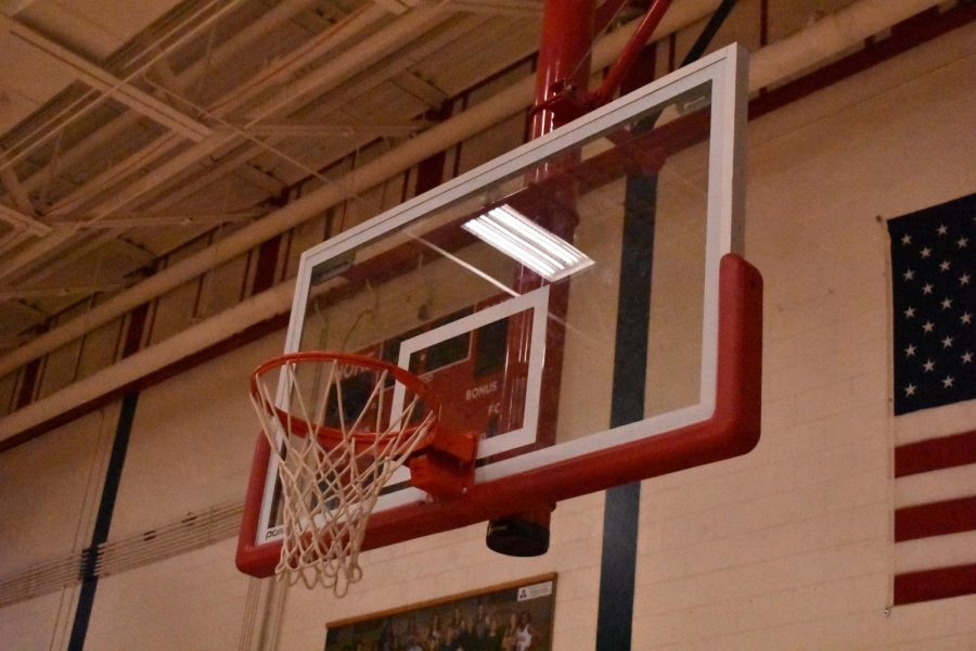 Basketball Hoop in the Lafayette Gym where game takes place