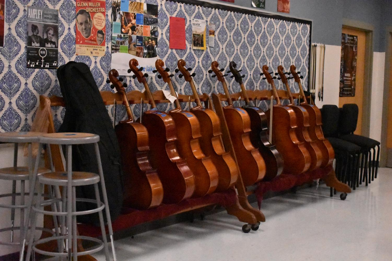Instruments in the Lafayette orchestra room.