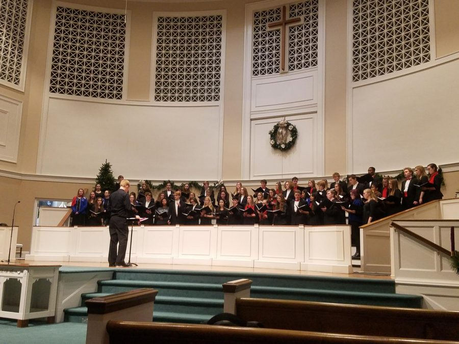 The Lafayette Chorale rehearsing before the concert