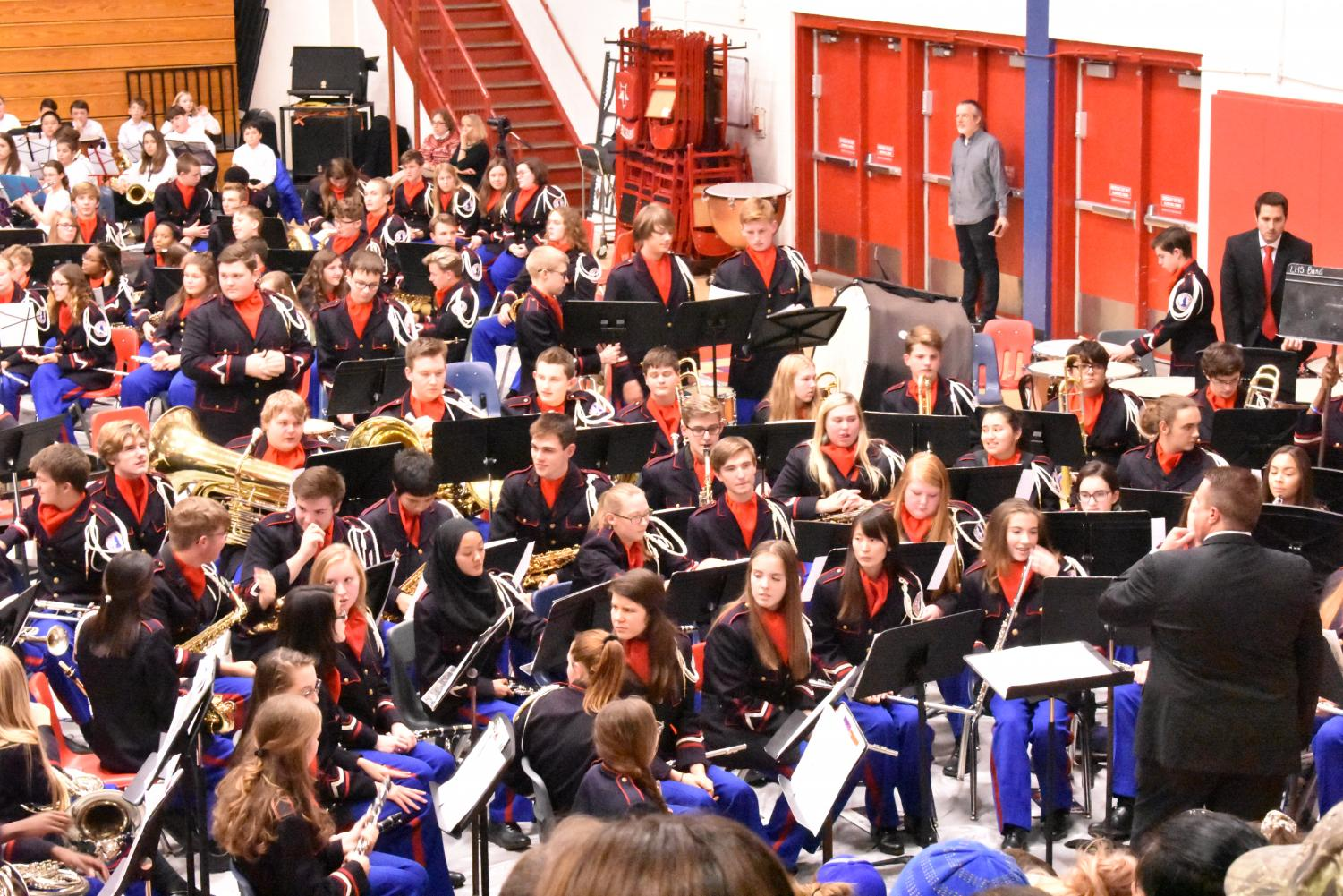 The Lafayette Symphonic (front) and Concert (back) bands at the Area Concert.