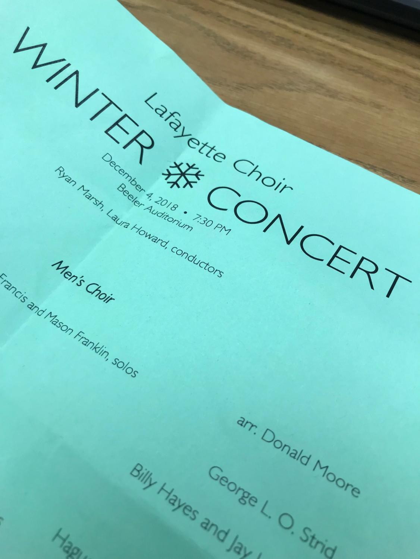 Choir Winter Concert program December 4, 2018.