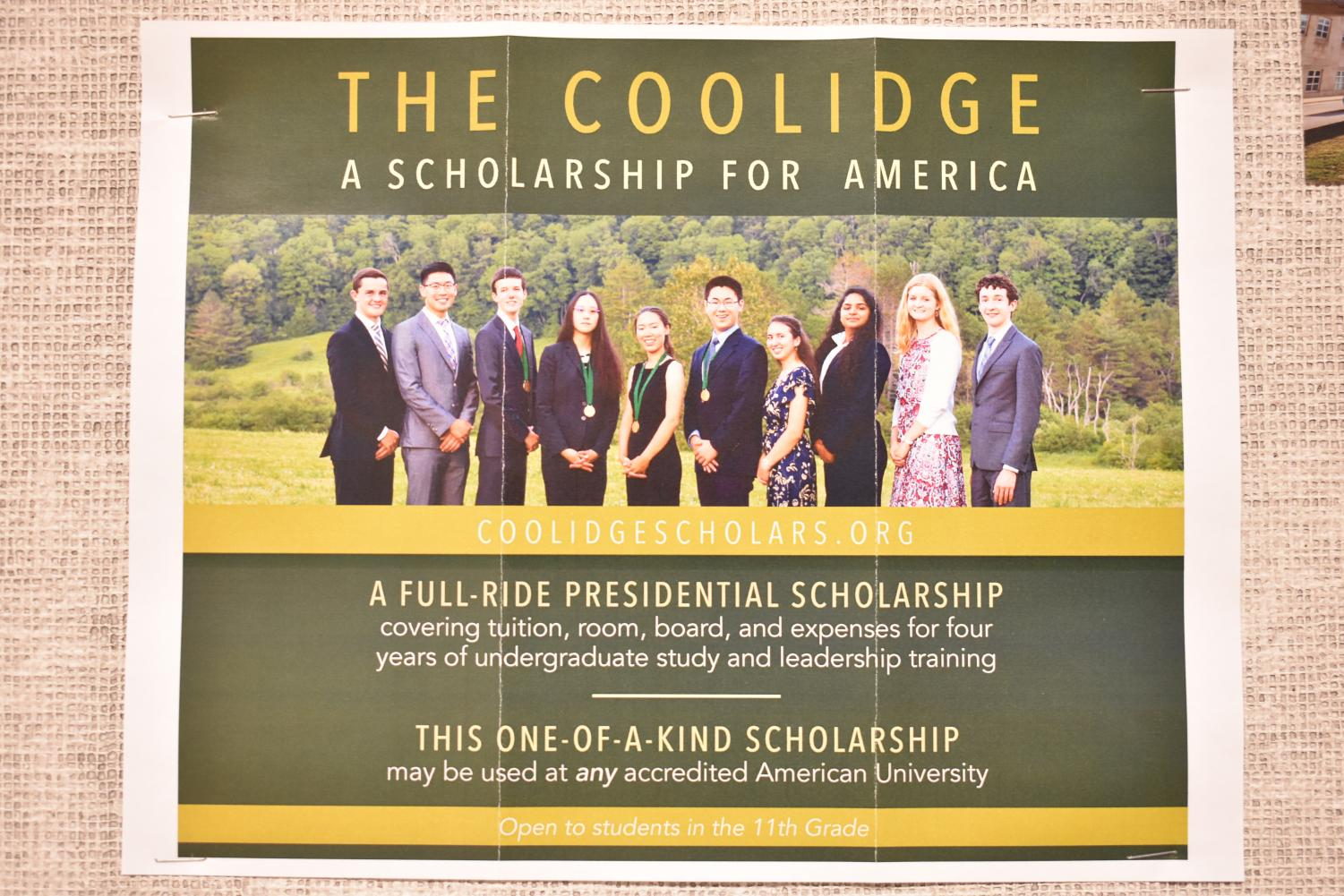 A flier advertising the Coolidge scholarship, picturing previous recipients