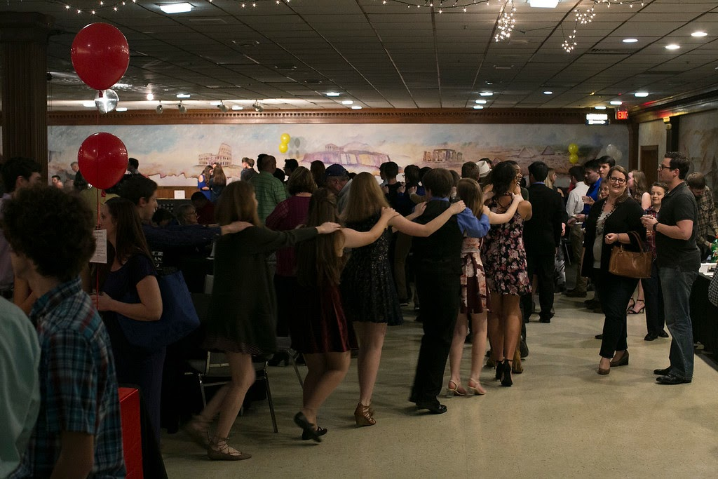 Students, friends, and family dancing at the 2018 Band Bash.