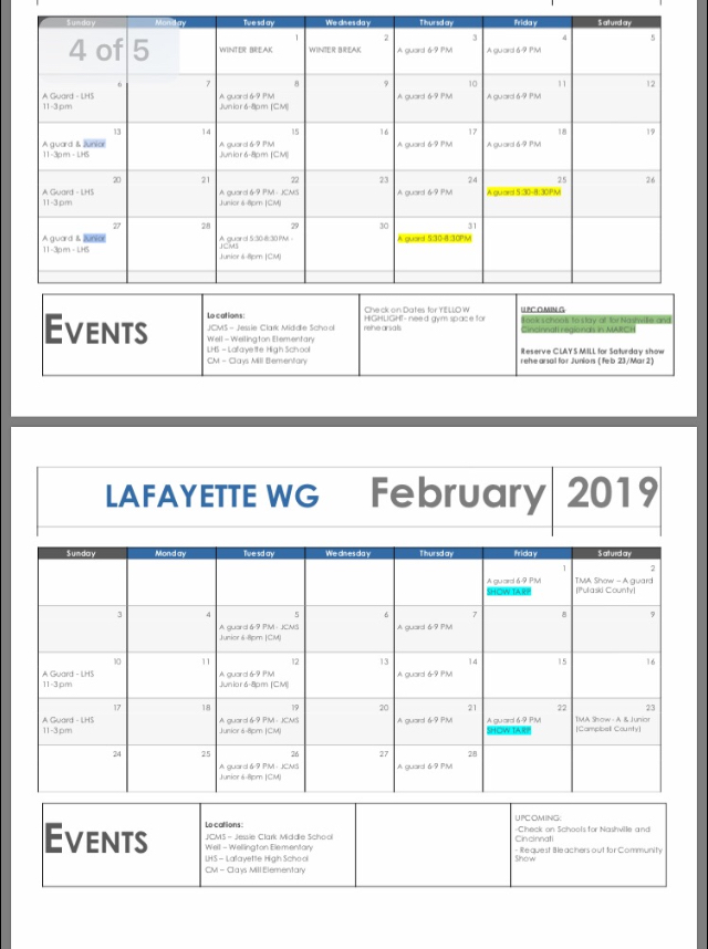Winter Guard schedule