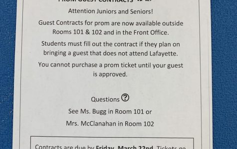 Poster for prom guest contracts.