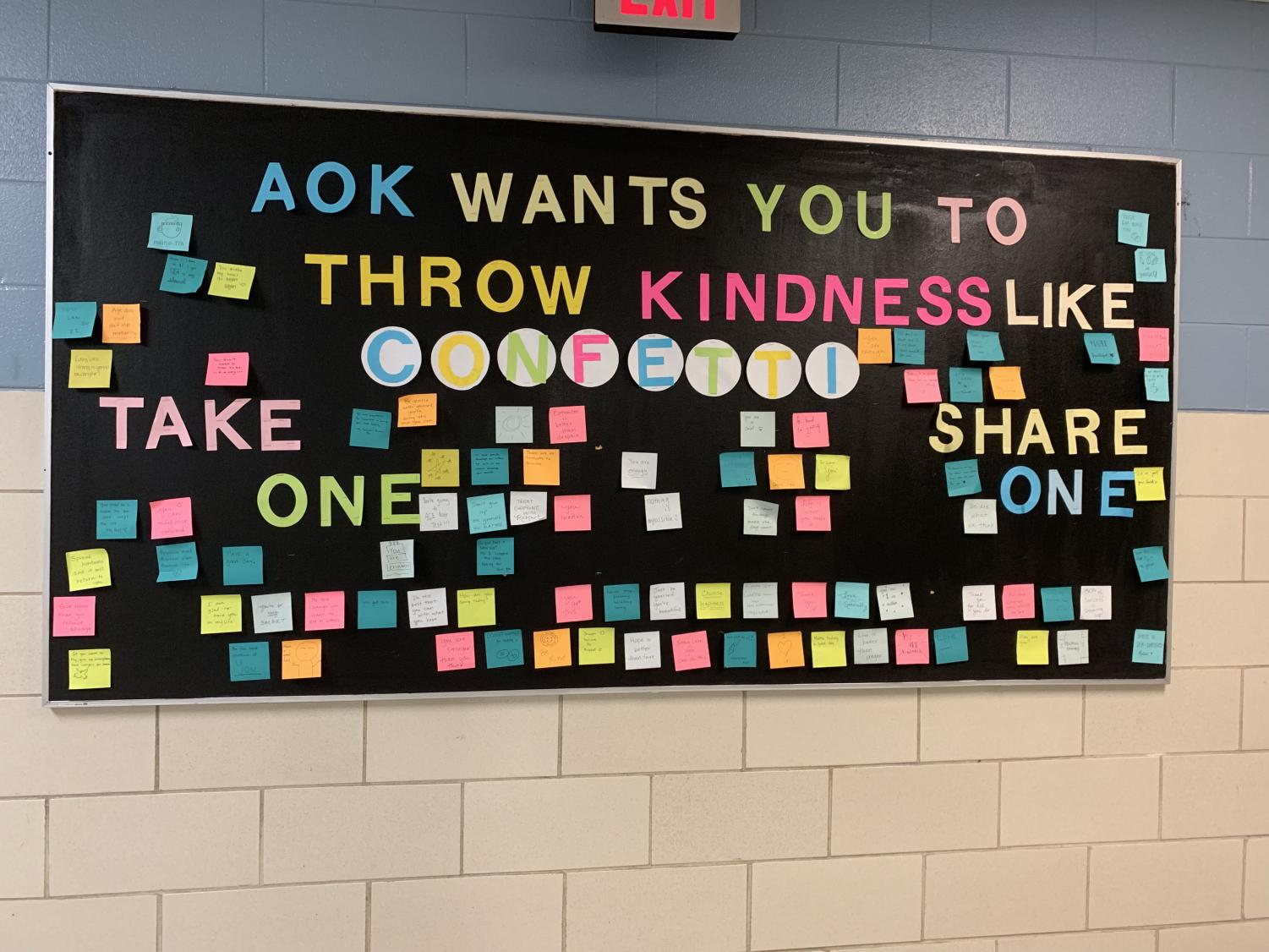 Acts of Kindness board of complements in the science hall.