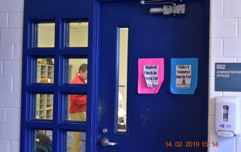 The door to the counseling office, where the stats are recorded.