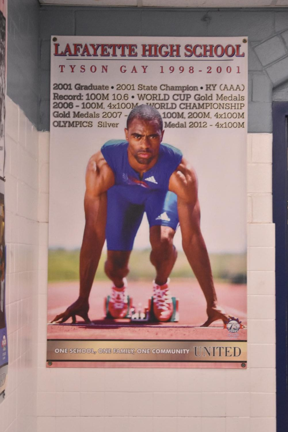 Banner in the hallway at Lafayette, featuring Tyson Gay