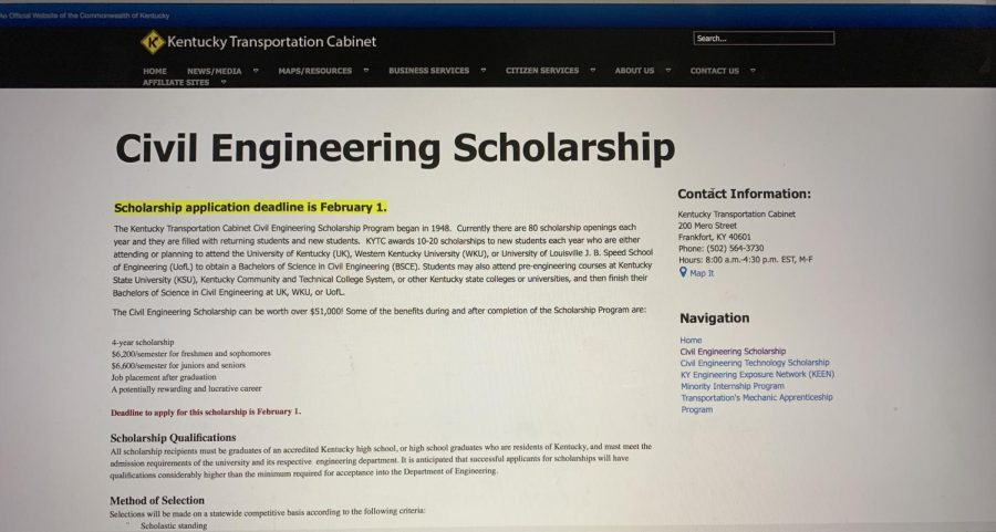 The+Kentucky+Transportation+website+with+information+about+the+civil+engineering+scholarships.