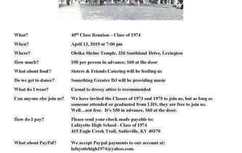 Class of 1974 Reunion