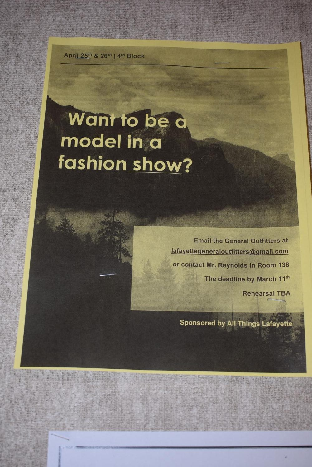 Advertisement for models for the fashion show.