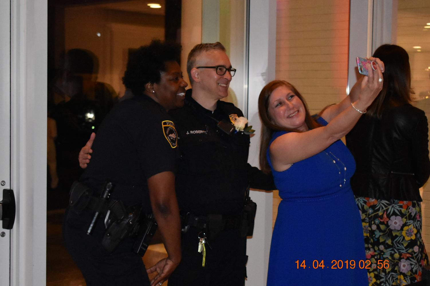 Ms.+Hardin+caught+taking+a+selfie+with+Officers+Scott+and+Roberts.