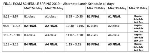 2019 final exam schedule.