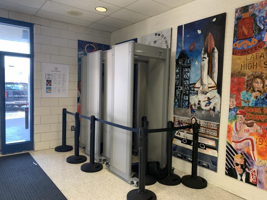 The three metal detectors used in Lafayette's bus foyer each morning.