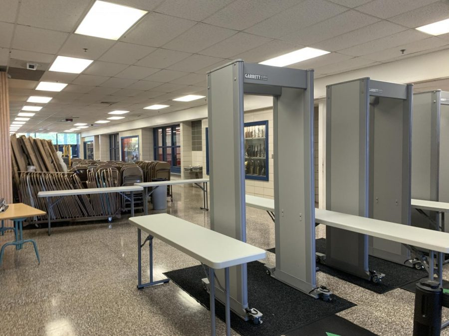 Three of the six metal detectors in Lafayette's gym foyer.