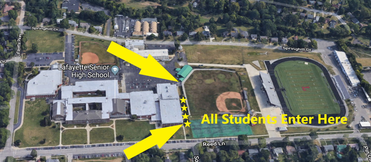 A map released by Lafayette's administration that shows where students must enter the school building.