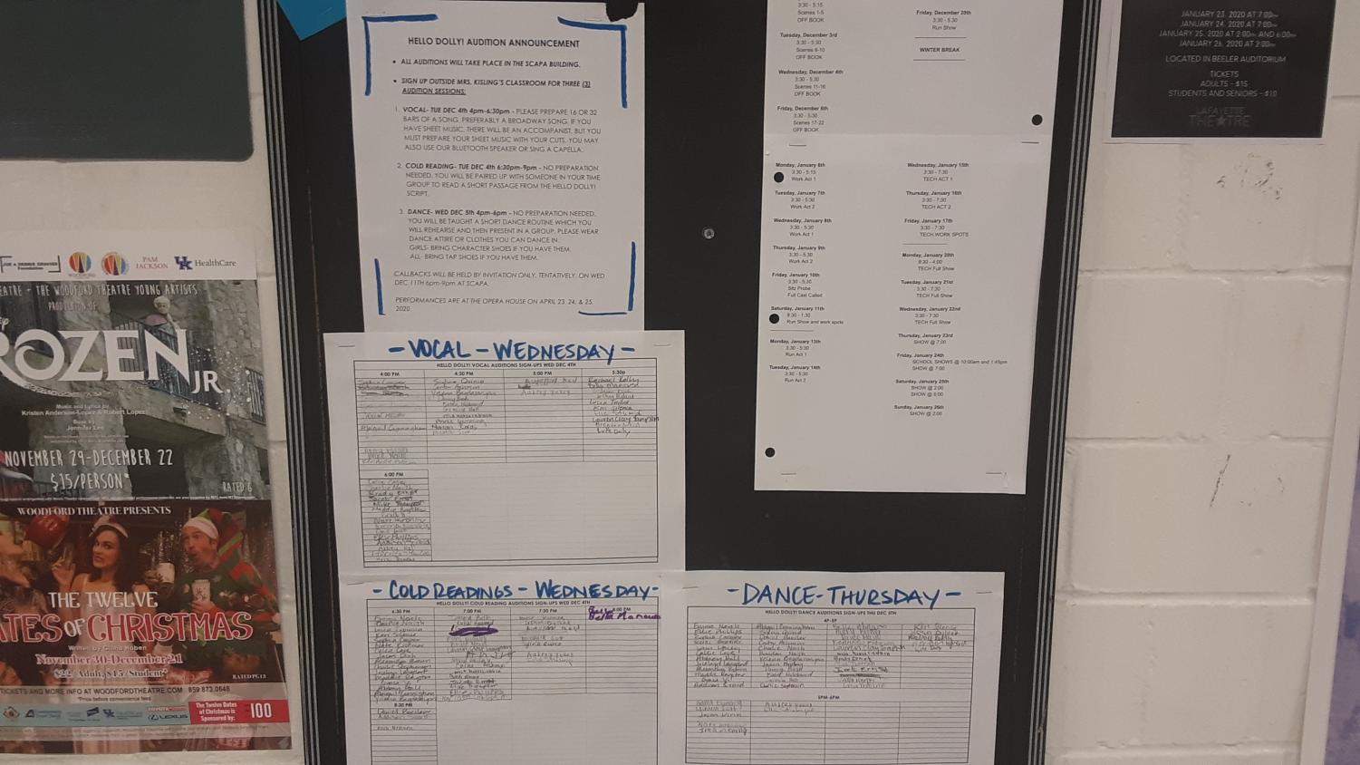 The sign-up sheets for all 3 auditions outside room 120.