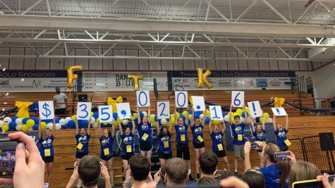 The Lafayette Dance Blue Staff revealing the money Lafayette raised this year