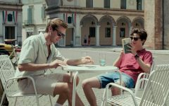 Elio and Oliver sit in a cafe on one of their first outings.