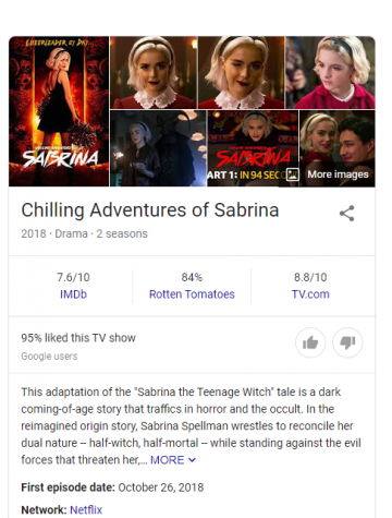 "the Wikipedia icon for ""Chilling Adventures of Sabrina"" featuring the shows description, ratings, and the 3rd seasons poster as the main image"