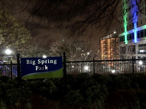 Big Spring Park located in Huntsville Alabama. Even the park at night contained various amounts of people seemingly unfazed by the Coronavirus Pandemic.