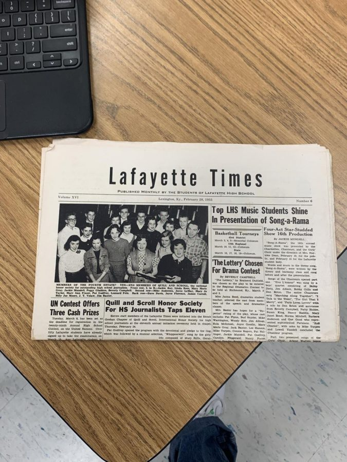 A+paper+copy+of+Lafayette%E2%80%99s+newspaper+from+the+1950s