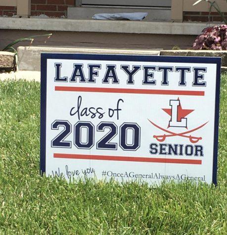 Lafayette High School class of 2020 Senior sign.
