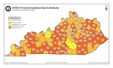 Kentucky county-by-county COVID-19 incident rate map (Source: Kentucky Department of Public Health) - Fox19NOW