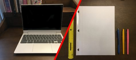 Pick your learning tools: paper and pencil or Chromebook and keyboard.