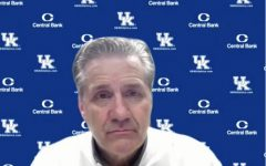 Lexington, KY.: John Calipari, head coach for the University of Kentucky's men's basketball team, speaks to the media after the game.