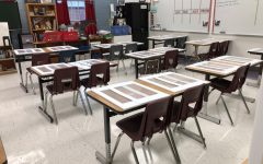 Lexington, KY. Mrs. McPherson's classroom at Lafayette shows how teachers have spaced desks/tables out to provide as much social distancing as possible.