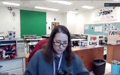 Lexington, KY. Journalism teacher Sherri McPherson teaching class in January 2021.