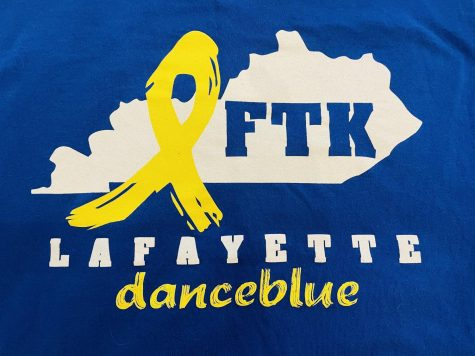 Lexington, KY. Lafayette High School Dance Blue Logo against blue background from a t-shirt.
