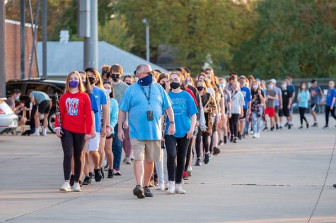 Lexington, KY. Lafayette Marching Band 2020 entering the football stadium for Senior Night.