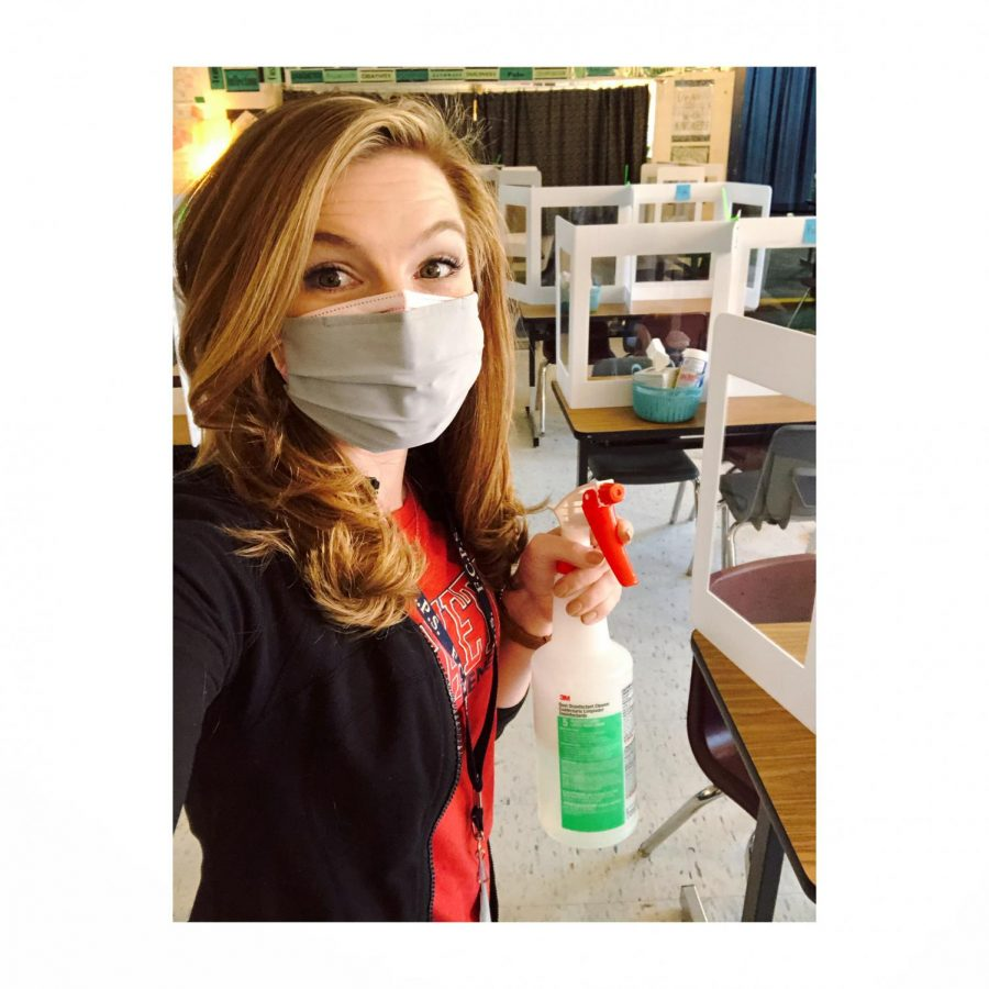 Ms.+Gorrell+cleaning+her+classroom+after+classes.