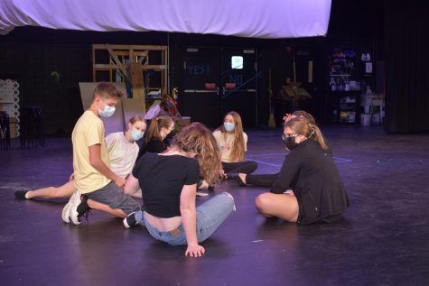 Students  rehearsing for the Lafayette theater competition piece, Still Life of Iris. Students in this photo: Brady Ernst, Ella Swangin, Jenna Mosley, Linden McGregor, Abigayle Stokes, Emma Carty, and Annie Harris