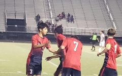 A positive boost after 2nd goal scored by #2 Fredy Karezo. #3 Christian Franco, #7 Tim Nienaber, and 34 Parker Wilson.