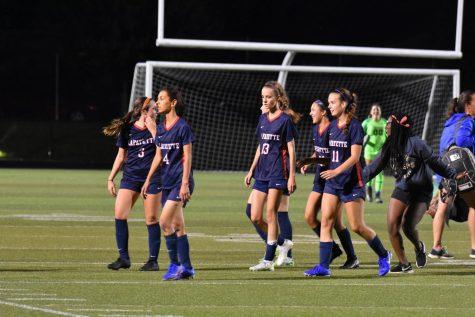 (LEXINGTON, KY) The Lafayette Lady Generals Soccer Team celebrates a 5-2 result against LCA.