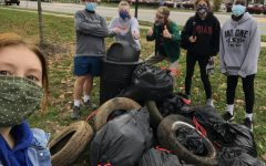 BYSC members (left to right) Teagan Fowler, Noah Sprout, Anna Compton, Sam Werner-Wilson, Anna Kovaleva, and Joy Ntakarutimana at Shillito Park for a BYSC cleanup on November 14, 2020.