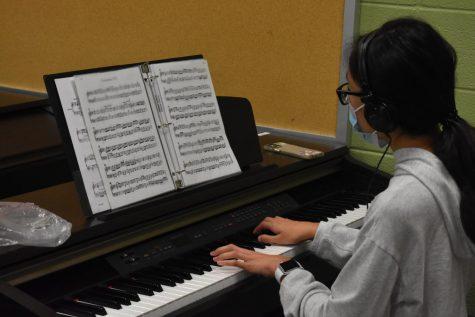 SCAPA piano student Grace Anne Preston practices piano.