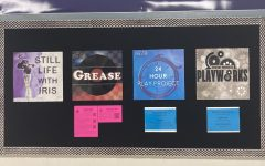 The Lafayette Theatre bulletin board, with the sign up sheet for Grease auditions attached.